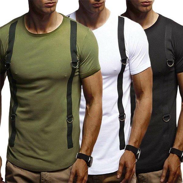 Mode Hommes manches courtes Slim Fit Casual Slim Muscle Coton Sport T-shirt Hauts T Pull vêtements d'été pour adultes