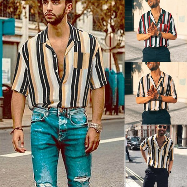 Mens Hawaiian Shirt Male Casual camisa masculina Men Summer Fashion Shirts Casual Striped Shirts Short-Sleeve Top Blouse S-3XL