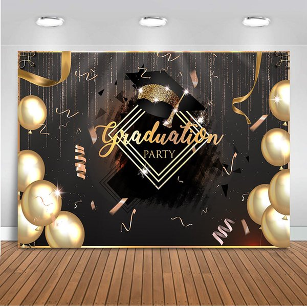 Graduation Party Backdrop for Photography Gold Balloons Photo Background Studio 2019 Class Photo Booth Party Prom Decoration