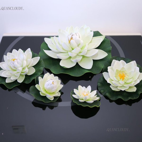 Artificial WHITE Lotus Leaves flowers Water ponds lotus leaf fake Lily Floating Pool home garden Plants Wedding D24