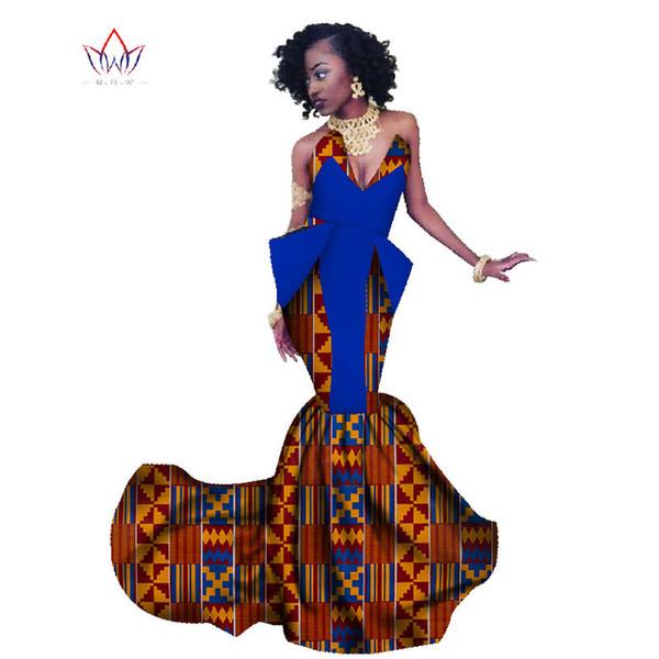 Compre 2019 Primavera áfrica Vestido Para Mujer Sirena Vestidos Largos Vestido Formal De Moda Ankara Vestido De Cera Con Estampado De Algodón Africano