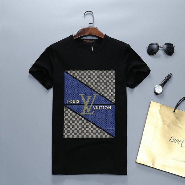 2019 été nouveau T-shirt à manches courtes mode européenne et américaine de hip-hop de haute qualité d'impression de serpent pour hommes tendance broderie T-shirt66266