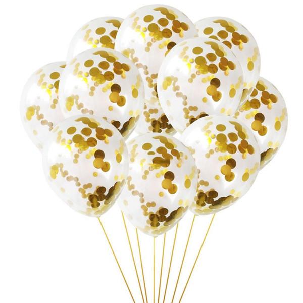 Conjunto de decoraciones con globos Decoraciones para fiestas de cumpleaños Globos de oro Glitter Transparencia para Baby Shower, Fiesta de bodas D