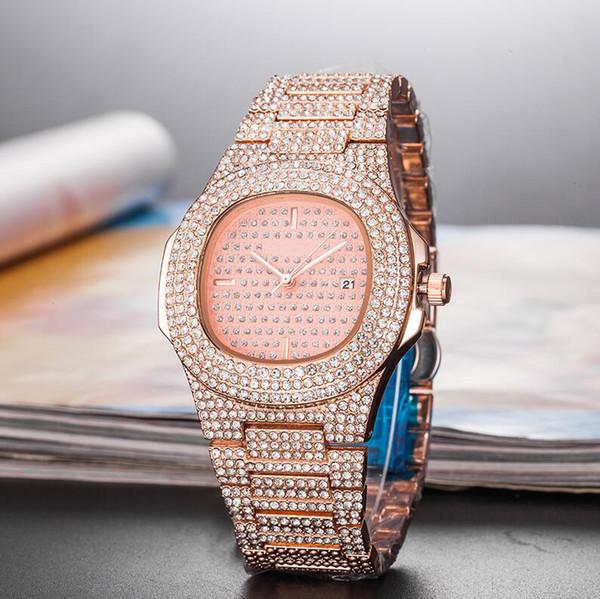 Yeni 2019 Kadın Elmas İzle Nautilus 5711 Gül Altın Kare Kuvars Lüks Tasarımcı Saatler Saatı Montre De Luxe Orologio