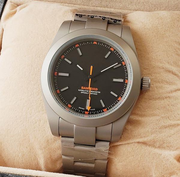 Reloj 2019 homens relógio mecânico automático simples preto dial laranja agulha relógio mens relógios homem reloj Montre homme Sports lazer relógio