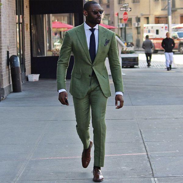 Casual Yeşil Erkekler Düğün Takımları Adam Blazers Suits Custom Made Damat Smokin 2 Adet Ceket Pantolon Slim Fit Kostüm Homme Akşam parti