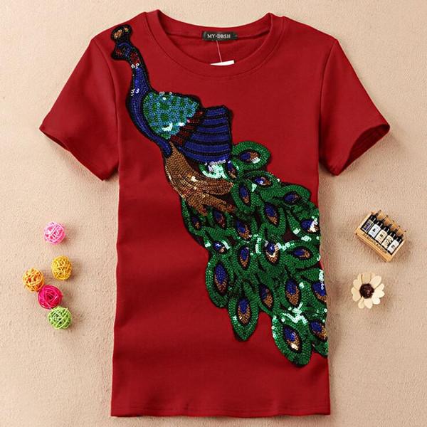 novo padrão de pavão mulheres de Verão paetês bordados de algodão de manga curta T-shirt Slim Mulher Moda Top 103