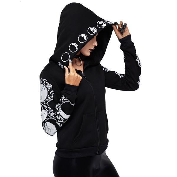 2019 Gotik Kadınlar Hoodie Rahat Uzun Kollu Kapşonlu zip-up Tişörtü Kapşonlu Kadın Jumper Kadın Eşofman Hoodie SH190913