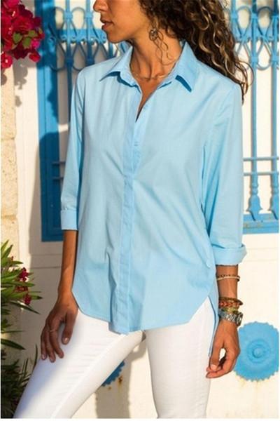Unregelmäßiger Rand Womens Designer Shirt Fashion Split mit Knopf Dekoration Sommer Kleidung lässig solide Donna Tops