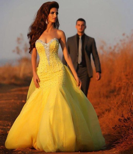 Luxury Arabic Pearl Mermaid Prom Dresses With Detachable Overskirt Sweep Train New 2019 Sweetheart Corset Bright Yellow Engagement Dress
