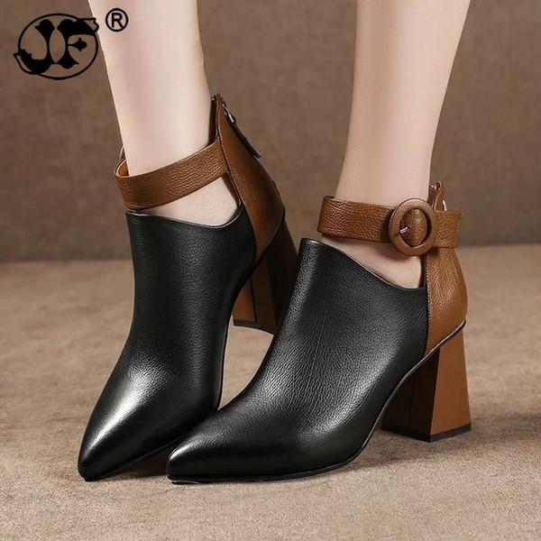 Fashion Women Pumps Derss Ankle Martin Boots Shoes Autumn Winter Women Pointed Toe Zipper High Heels Warm Snow Boots Mujer 899