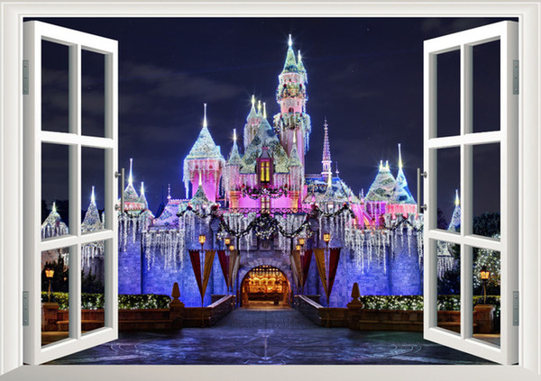 newest 3d window view ancient princess castle home decals wall sticker for kids room girls bedroom mural art