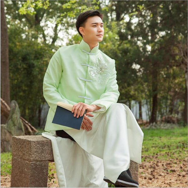 High Quality Men clothing In Republic of China antique costumes of film television Stage dramas young Masters Long Tang Suits Jacket + Robe