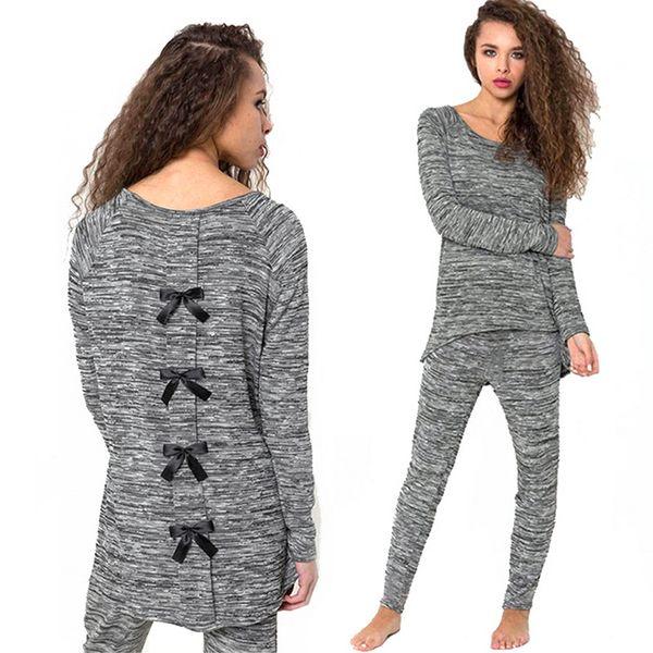 Autumn Spring Women Cotton Sweatshirts Black Bow Back Long Sleeve Casual Tracksuit Womens Hoodie Set Sweatshirts + Pants