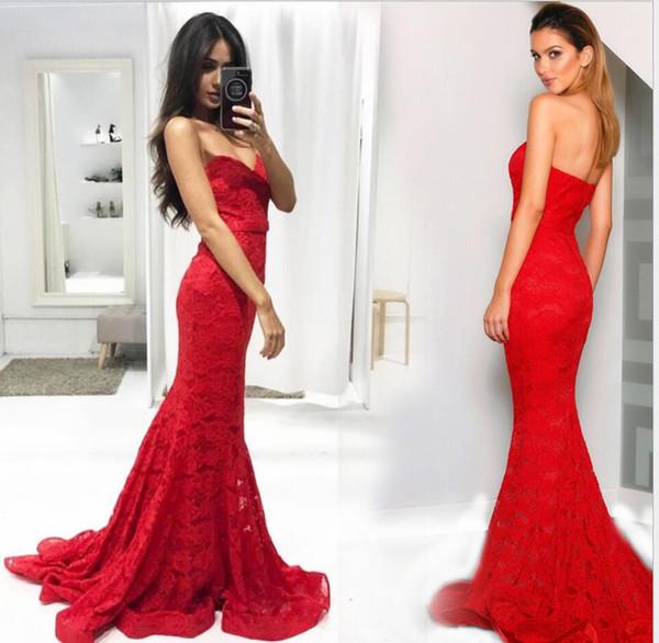 2019 Red Sexy querida Strapless Lace sereia da dama de honra vestidos de madrinha de casamento convidado Dresess vestido das mulheres Vestidos de baile Vestidos