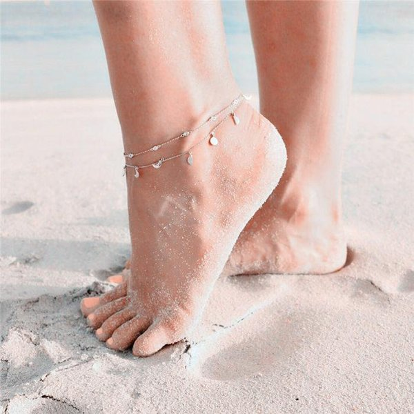 Lovely Girl AB Crystal Ankle Bracelet Silver Color Link Chain Anklet Sexy Barefoot Jewelry Women Foot Bracelet Gift 20 styles ALXY