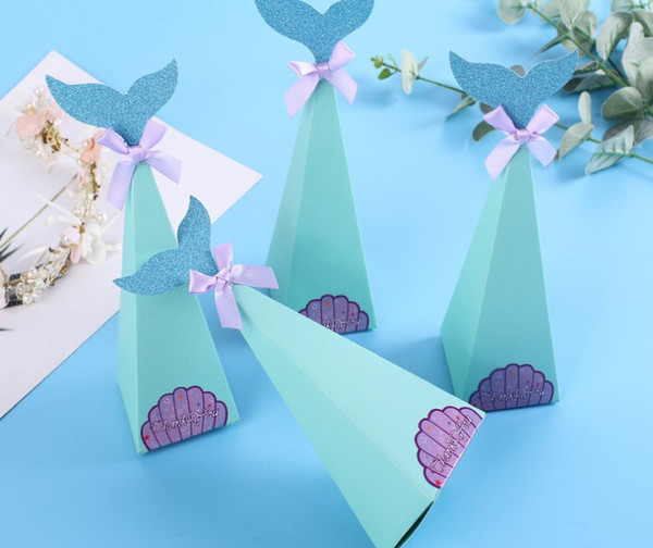Mermaid Favor Box Birthday Party Decorations Diy Paper Box Baby Shower Boy Girl Little Mermaid Candy Boxes Gift Packaging Gift Packaging And