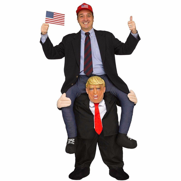 Novelty Costumes Adult Pants Dress Up Ride On Donald Trump Shoulder Mascot Costumes Carry Back Fun Cosplay Clothes DK7091CP