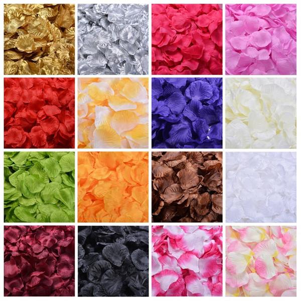 100PCS / pack multicolor de la sede artificial pétalos de rosa para San Valentín \ 's del partido del festival del día de boda del confeti de la decoración de 5packs / lot.