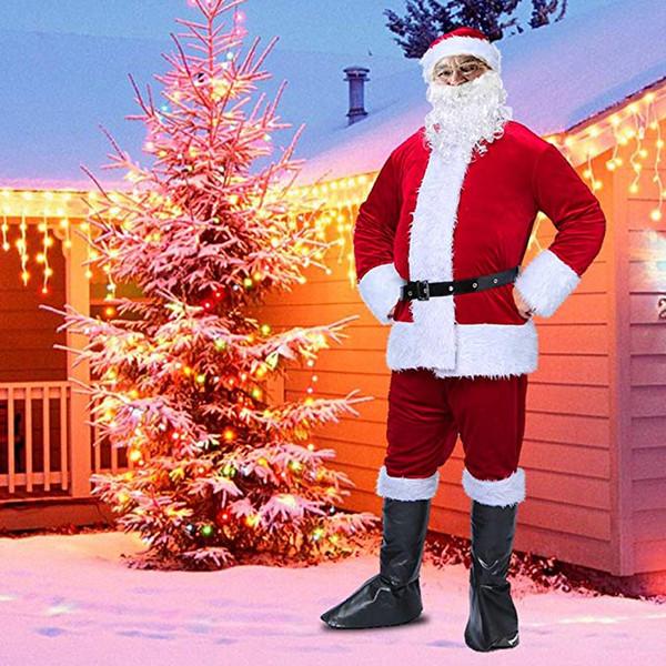 Christmas santa claus Costume Plush Christmas Costume Set, Luxury Xmas Santa Costume Suit Fancy Cosplay Suit free shipping