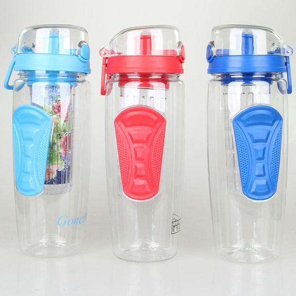 32OZ Fruit Infuser Cup Water Bottle With Fruit Infuser Lemon Water Mug Cup Infusion Detox BPA Free Tritan Handle Flip Water Bottles XD20381