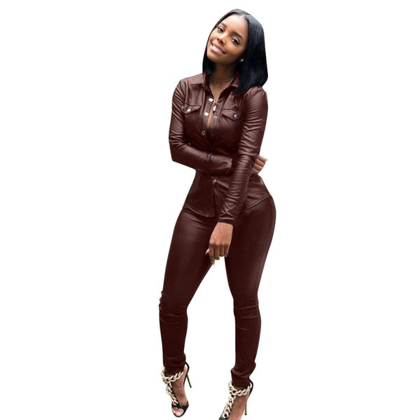 2019 Women Set Tracksuit PU Leather Sets Fashion Casual Jackets Pants Solid Office Lady OL Business Party Club Suits for Lady
