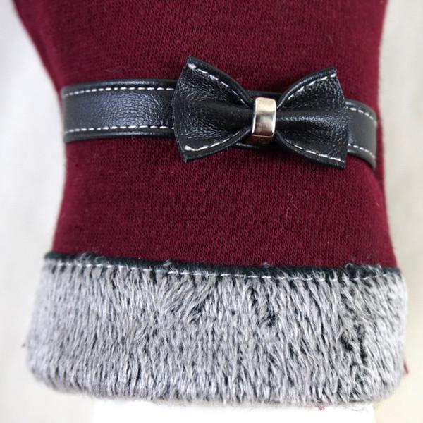 Fashion-Elegant Womens Gloves Screen Winter Warm Bow Soft Wrist Gloves Mittens Cashmere Full Finger guantes mujer handschoenen