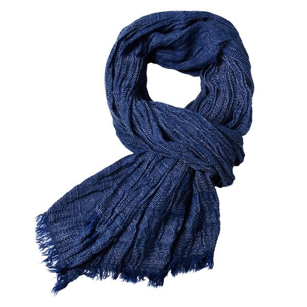 2018 banda de lujo bufanda hombres bufanda de algodón sólido para mujer envoltura del mantón jacquard tejido largo bufandas con borlas 175 * 80