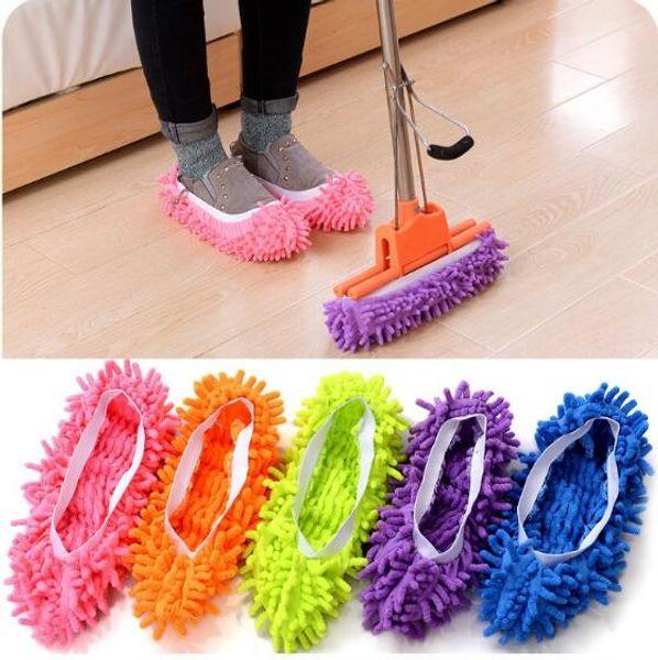100 adet Toz Temizleyici Otlatma Terlik Ev Banyo Zemin Temizleme Paspas Temizleyici Terlik Tembel Ayakkabı Kapak Şönil