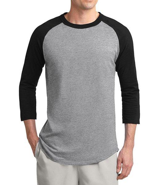 2019 T-Shirt Raglan manica autunno 3/4 estate Uomo 100% cotone T-Shirt di alta qualità Tshirt tinta unita stile slimple Slim Fit