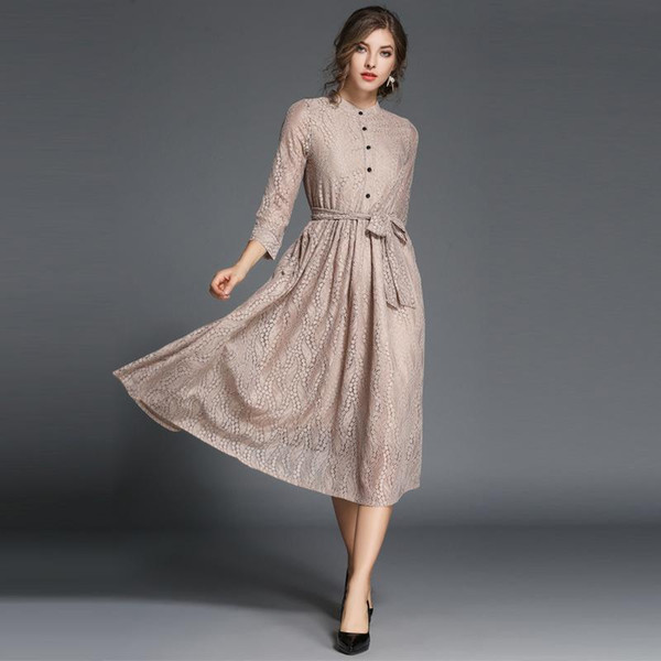 Nice Winter Dresses For Womens Elegant High Quality Casual Dresses Women Plus Size Clothing Party Dress With Decorative Stand Lace Clothes