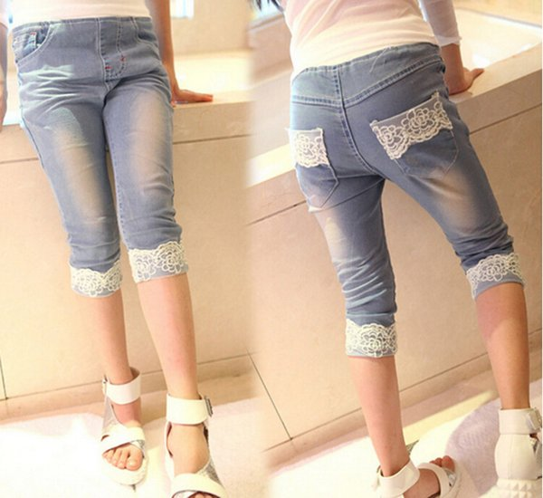Korean girls summer clothing children's jeans lace flower jeans pants knee length pants 5p/l free shipping