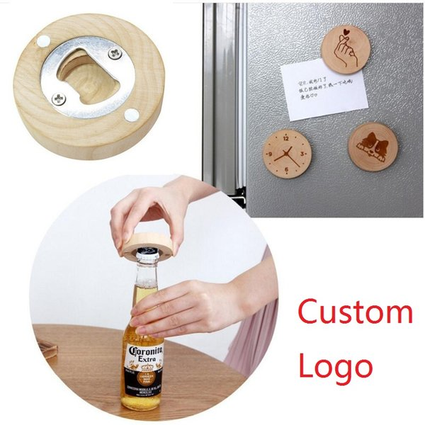 New design Wooden Round Shape Bottle Opener Coaster Fridge Magnet Decoration Beer Bottle Opener Custom laser logo LX1173