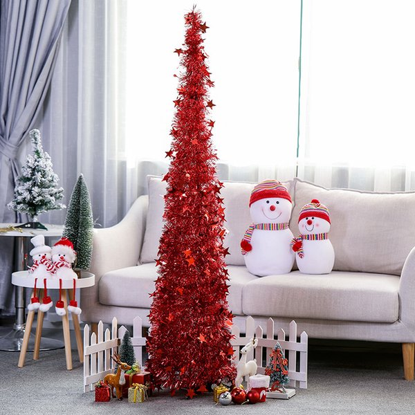 Foldable Christmas Tree PET Plastic Christmas Tree Decor Home Ornaments For  Bedroom TV Room Living Room 1.2M/1.5M Holiday Decorations For Sale Holiday