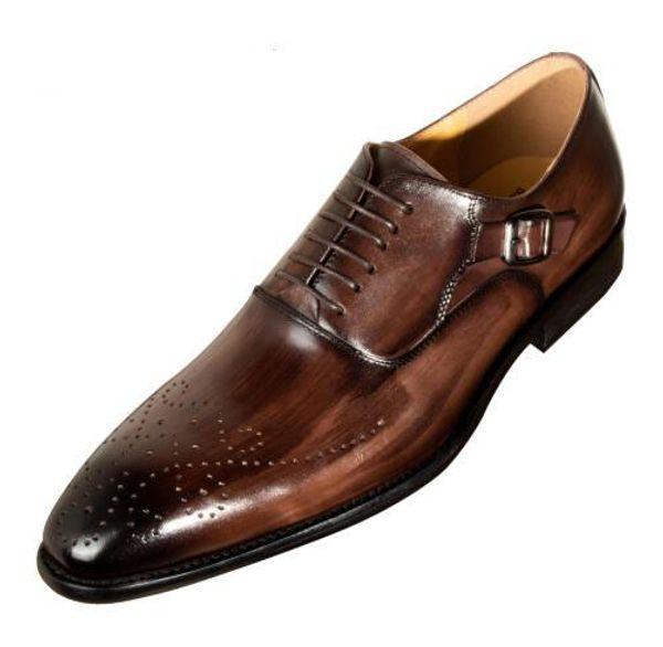 Männer Kleid Schuhe Kuh Leder Schnalle Büro Geschäft Hochzeit Handgemachte Mischfarbe Brogue Formal Spitz Oxfords Mens Marke schuh