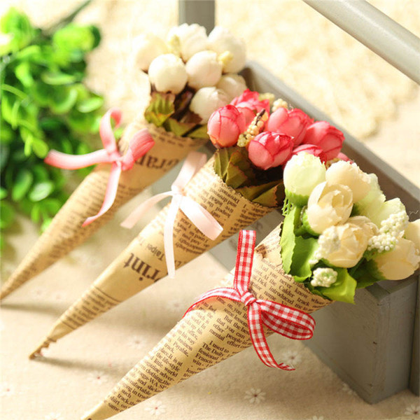 Artificial Mini Rose Home Christmas Decor Valentine's Day Gifts Festival Silk Flower Props Handmade Newspaper Flowers