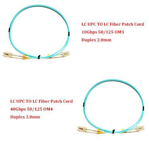 LC UPC TO LC UPC 10Gbps OM3 / 40Gbps OM4 1M / 2M / 3M / 5M / 7M MM Cable de conexión de fibra multimodo 2.0MM Duplex