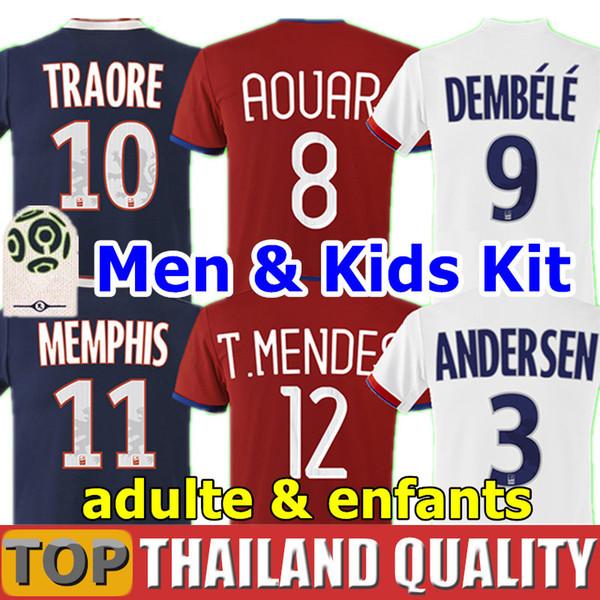 Thailand maillot de foot occer jer ey home 2019 2020 away 3rd red football hirt traore memphi fekir 19 20 men kid kit uniform, Black;yellow