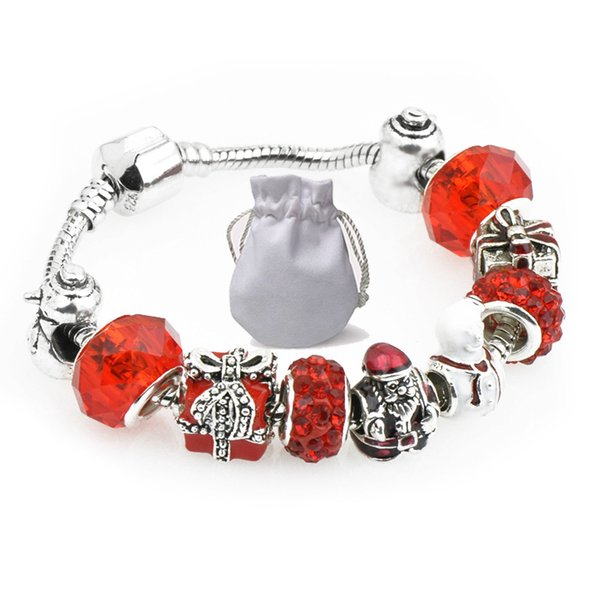 Brand Bracelets Fit Pandora Young people Red Crystal Glass Beads Snowman Square box Bangle Silver Chain Christmas Gift Jewelry Kids P109
