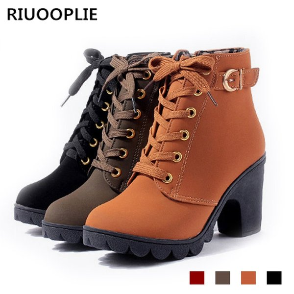 0b5e00aa363 RIUOOPLIE Plus Size Ankle Boots Women Platform High Heels Buckle Shoes  Thick Heel Short Boot Ladies Casual Footwear Mens Dress Boots Green Boots  From ...