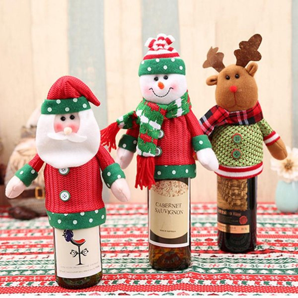1 Piece Red Wine Bottle Cover Bags Christmas Dinner Table Decoration Home Party Decors Santa Claus 2017