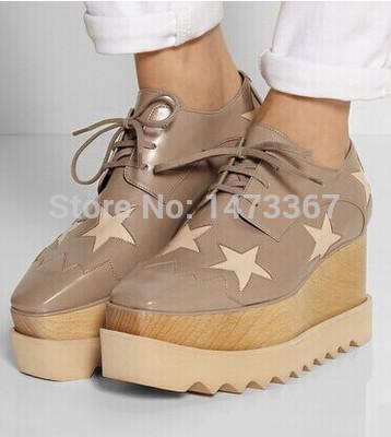 Gros-2015 cuir véritable nouvelles femmes motif étoile platsforms baskets chaussures stella chaussures à lacets baskets 5 couleur livraison gratuite