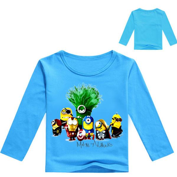 New Boys Clothes Girls Long Sleeve T Shirts Despicabled Minions Design Children Tops Cotton Cartoon Tees white blue kids T-Shirt