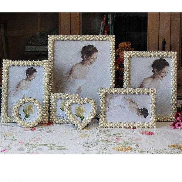 Modern Style Pearl Photo Frame Rectangle Square Round Heart Resin Picture Frames Home Decoration Popular Friend Gift Photo Frame