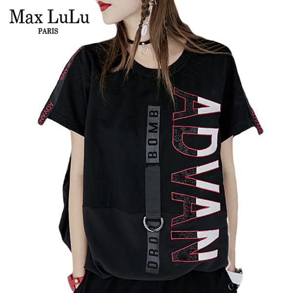 Max Lulu Luxury Japan Harajuku Girls Punk Streetwear Mujeres Diamantes Camiseta Patchwork Camiseta de verano Top Mujer Kawaii Camiseta S19715