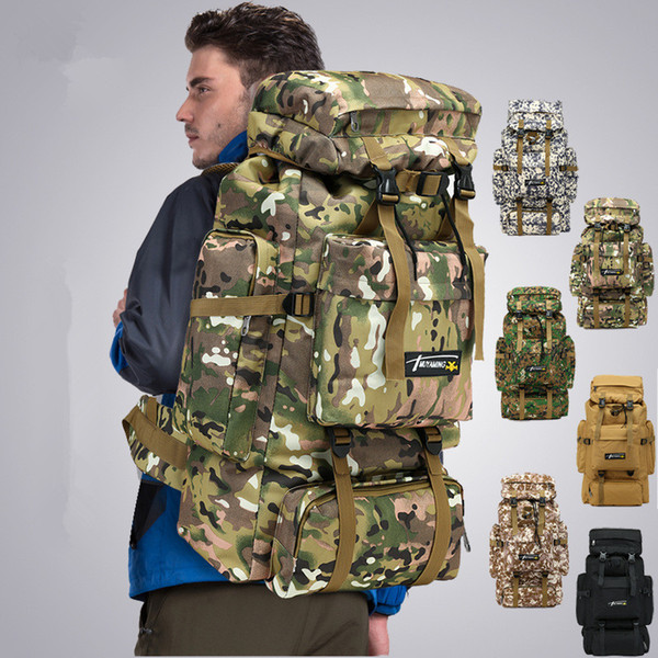 best selling 6styles 70L Camo Tactical Backpack Military Army Waterproof Hiking Camping Backpack Travel Rucksack Outdoor Sports Climbing Bag FFA1968