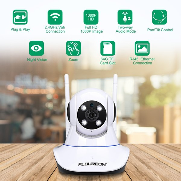 FLOUREON 1080P ip camera 2.0MP Wireless WiFi security camera PT IR-CUT TF card Baby Monitor