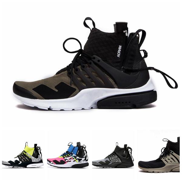 Nike Pristo off white Hot Style Nouveau Designer Release ACRONYM x Presto Mid chaussures unisexes Rose Bleu Noir Chaussures de Sport Baskets AH7832-600 Taille 39-43