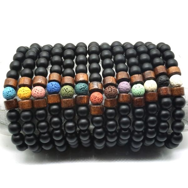 Черные бусины деревянные 8 мм красочные Лава камень Браслет DIY ароматерапия эфирное масло диффузор браслет Будда энергии ручной пряди