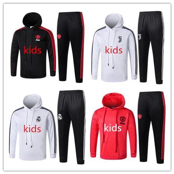 18 Ronaldo Kids pullover pullover da calcio maglie tuta sportiva abbigliamento sportivo Real Madrid Manica lunga kits Manchester Unit kids football tracksuit